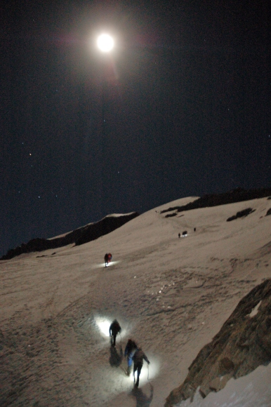 We barely needed headlamps for the first couple of hours of hiking, with the moon shining so brightly on the snow.